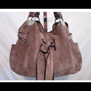 KOOBA Large Brown Suede Leather Hobo Handbag